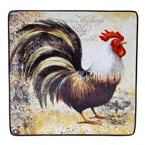 Certified International Vintage Rooster 12.25-in. Square Serving Platter Set
