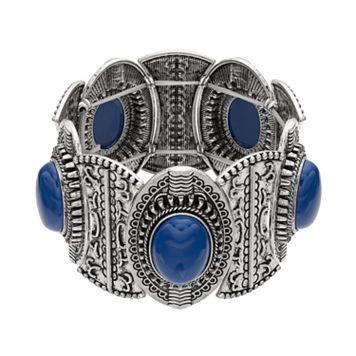 Blue Cabochon Stretch Bracelet