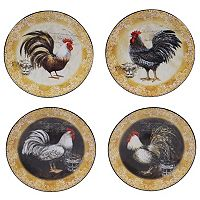 Certified International Vintage Rooster 6.25 in Canape Plate Set