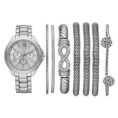 Women's Watch & Crystal Bracelet Set