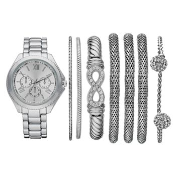Women's Watch & Crystal Bracelet Set
