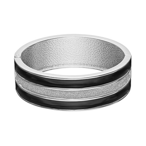 Striped Black Hinged Bangle Bracelet