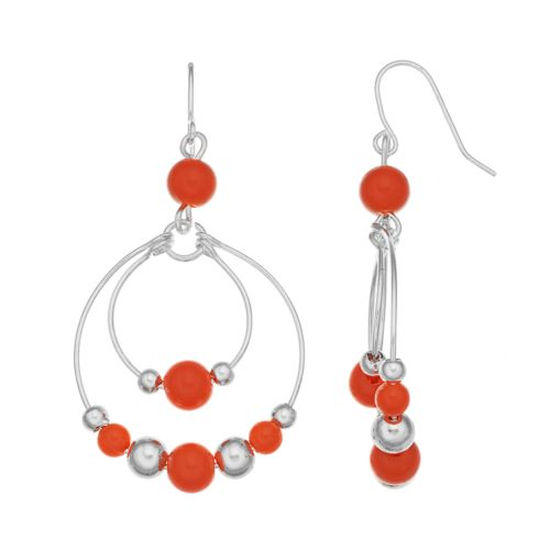 Peach Beaded Double Hoop Drop Earrings