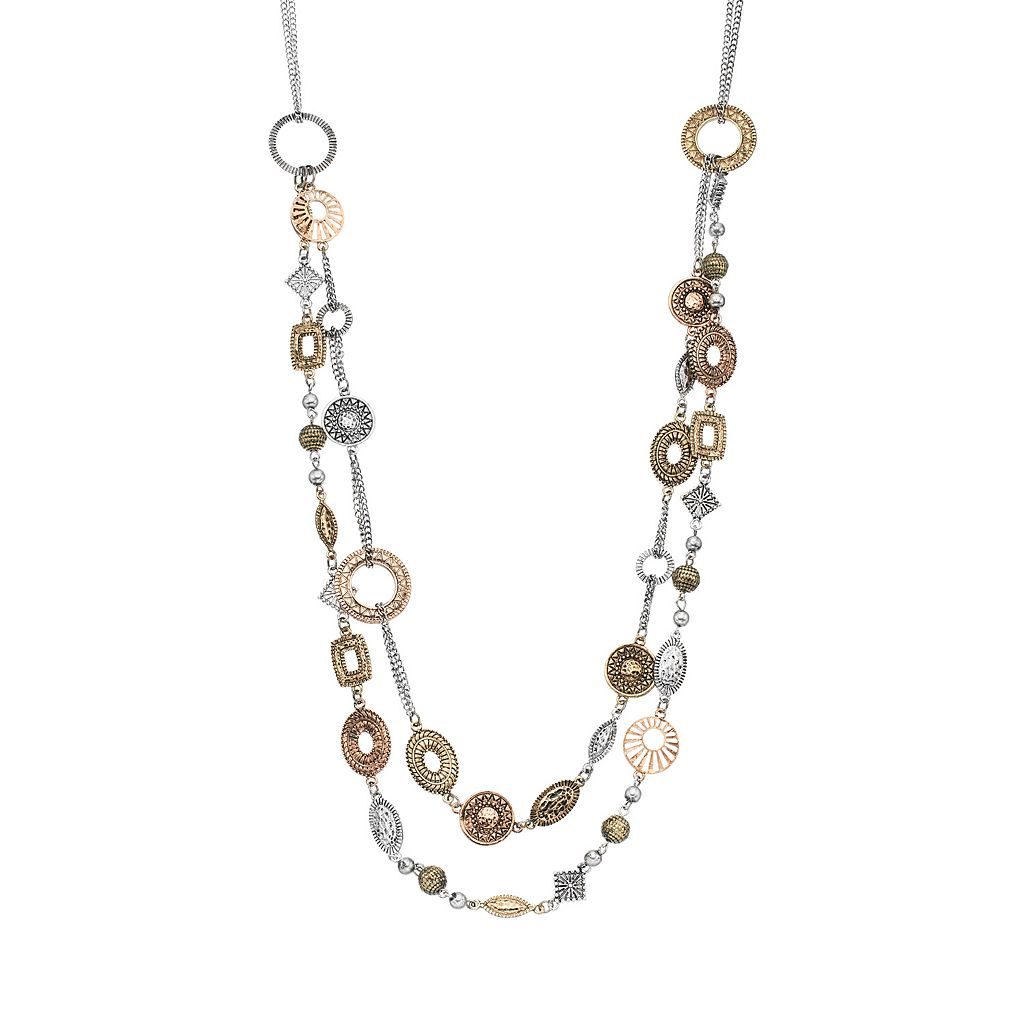Tri Tone Geometric Multi Strand Necklace