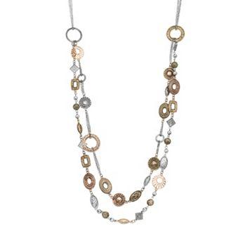 Tri Tone Geometric Multi Strand Necklace