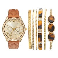 Women's Crystal Watch & Bangle Bracelet Set