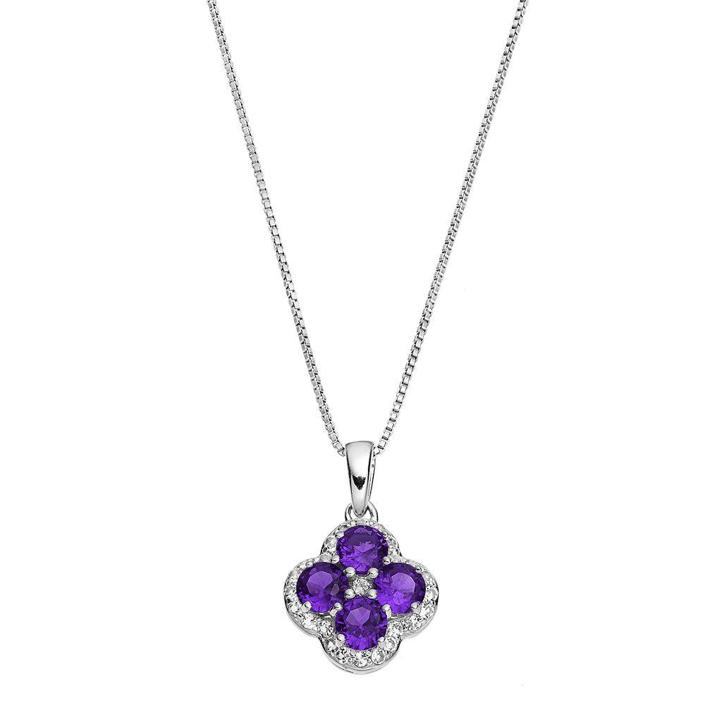 Sterling Silver Amethyst & White Topaz Flower Pendant Necklace