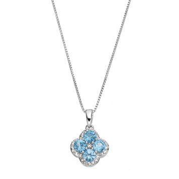 Sterling Silver Blue & White Topaz Flower Pendant Necklace