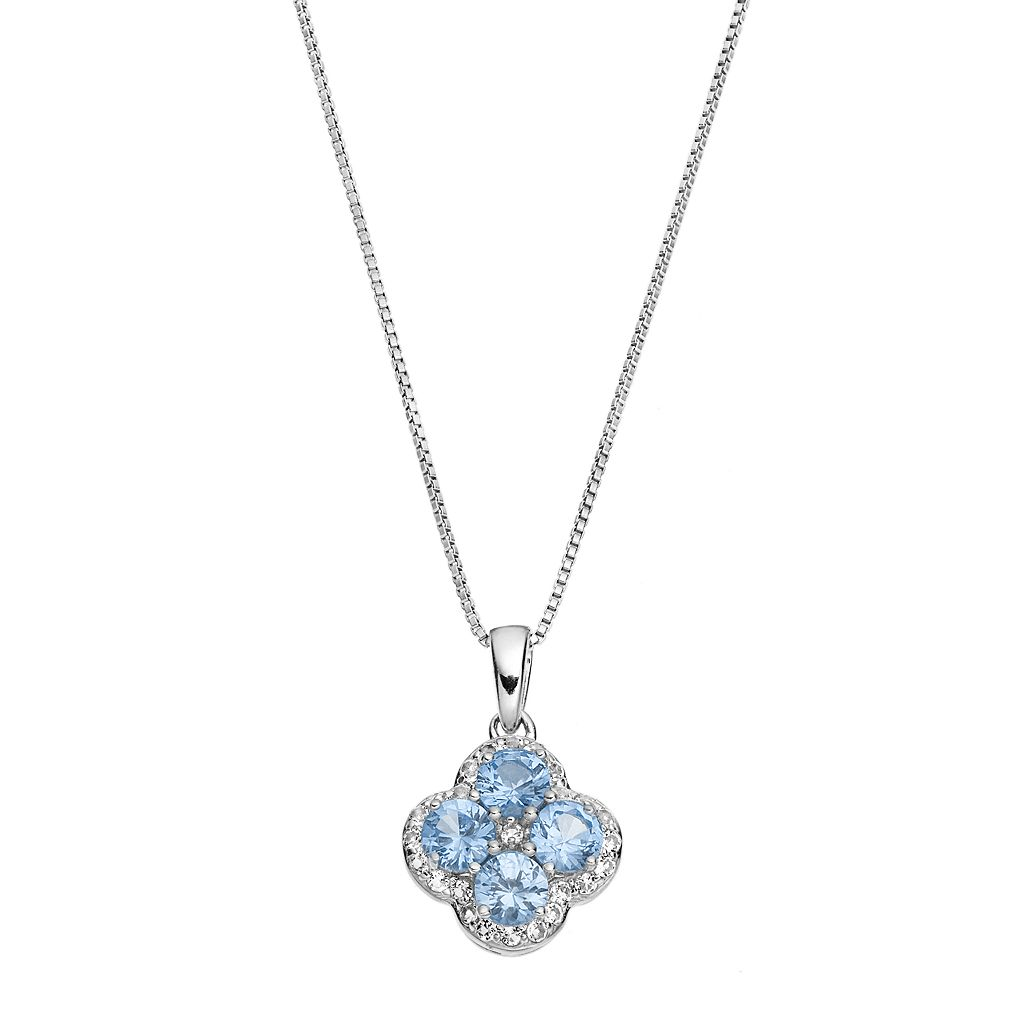 Sterling Silver Lab-Created Aquamarine & White Topaz Flower Pendant Necklace