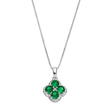 Sterling Silver Lab-Created Emerald & White Topaz Flower Pendant Necklace