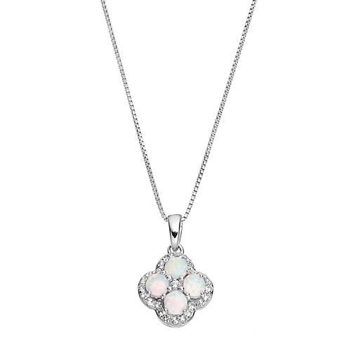 Sterling Silver Lab-Created White Opal & White Topaz Flower Pendant Necklace