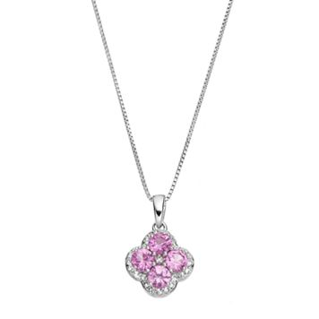 Sterling Silver Lab-Created Pink Sapphire & White Topaz Flower Pendant Necklace