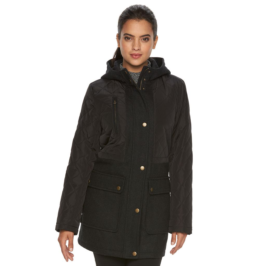 Women's Apt. 9® Hooded Quilted Wool Blend Anorak Jacket