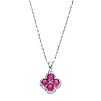 Sterling Silver Lab-Created Ruby & White Topaz Flower Pendant Necklace