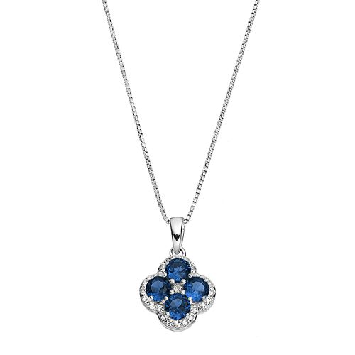 Sterling Silver Lab-Created Sapphire & White Topaz Flower Pendant Necklace