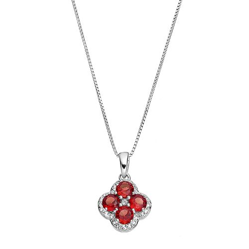 Sterling Silver Garnet & White Topaz Flower Pendant Necklace