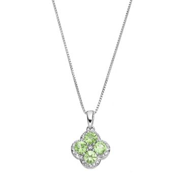 Sterling Silver Peridot & White Topaz Flower Pendant Necklace