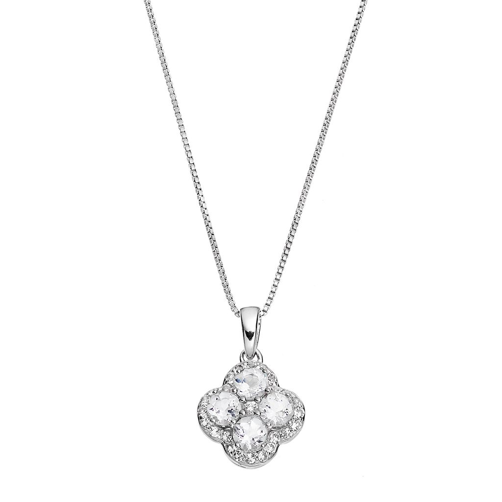 Sterling Silver White Topaz Flower Pendant Necklace