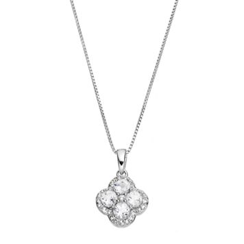 Sterling Silver White Topaz Flower Pendant Necklace