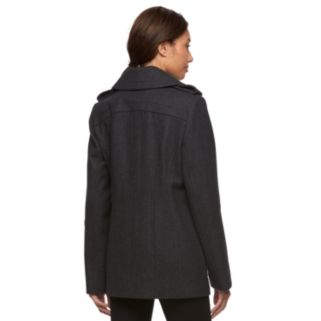 Women's Croft & Barrow® Double-Breasted Wool Blend Peacoat