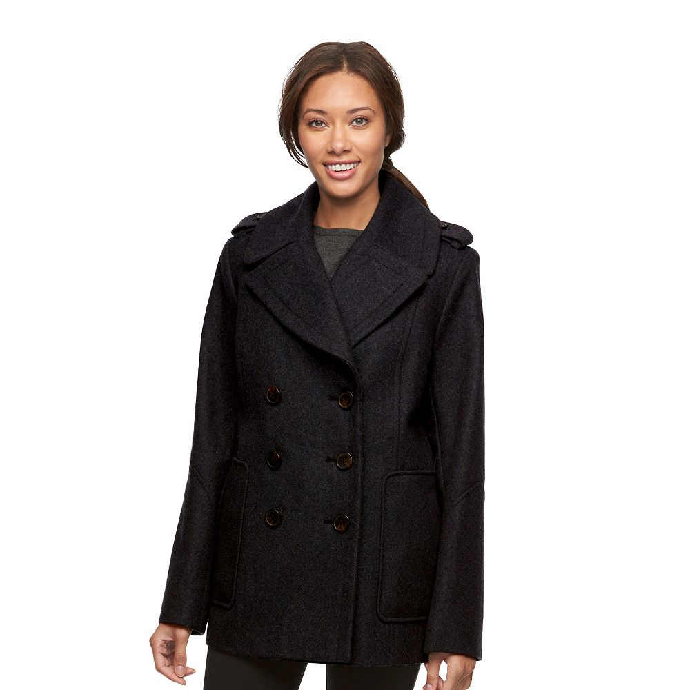 Croft & Barrow® Double-Breasted Wool Blend Peacoat
