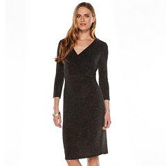 Women's Chaps Lurex Surplice Dress