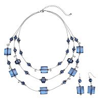 Beaded Blue Multistrand Necklace & Drop Earring Set