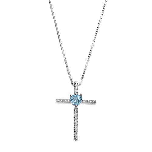 Sterling Silver Blue Topaz Cross Pendant Necklace