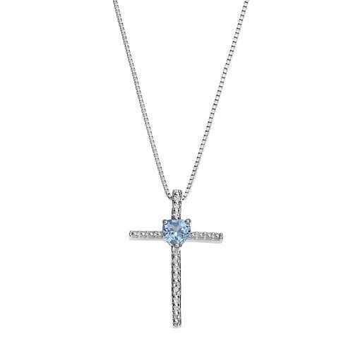 Sterling Silver Lab-Created Aquamarine Cross Pendant Necklace