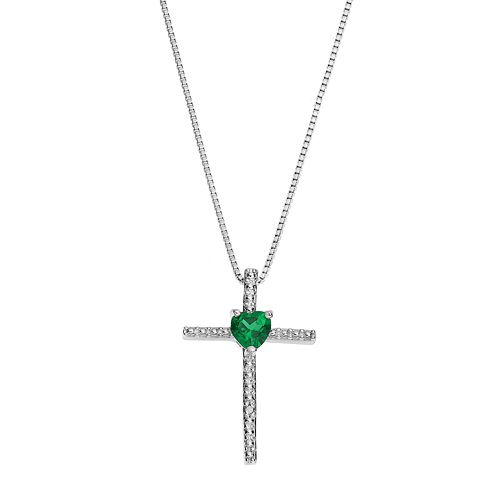 Sterling Silver Lab-Created Emerald Cross Pendant Necklace