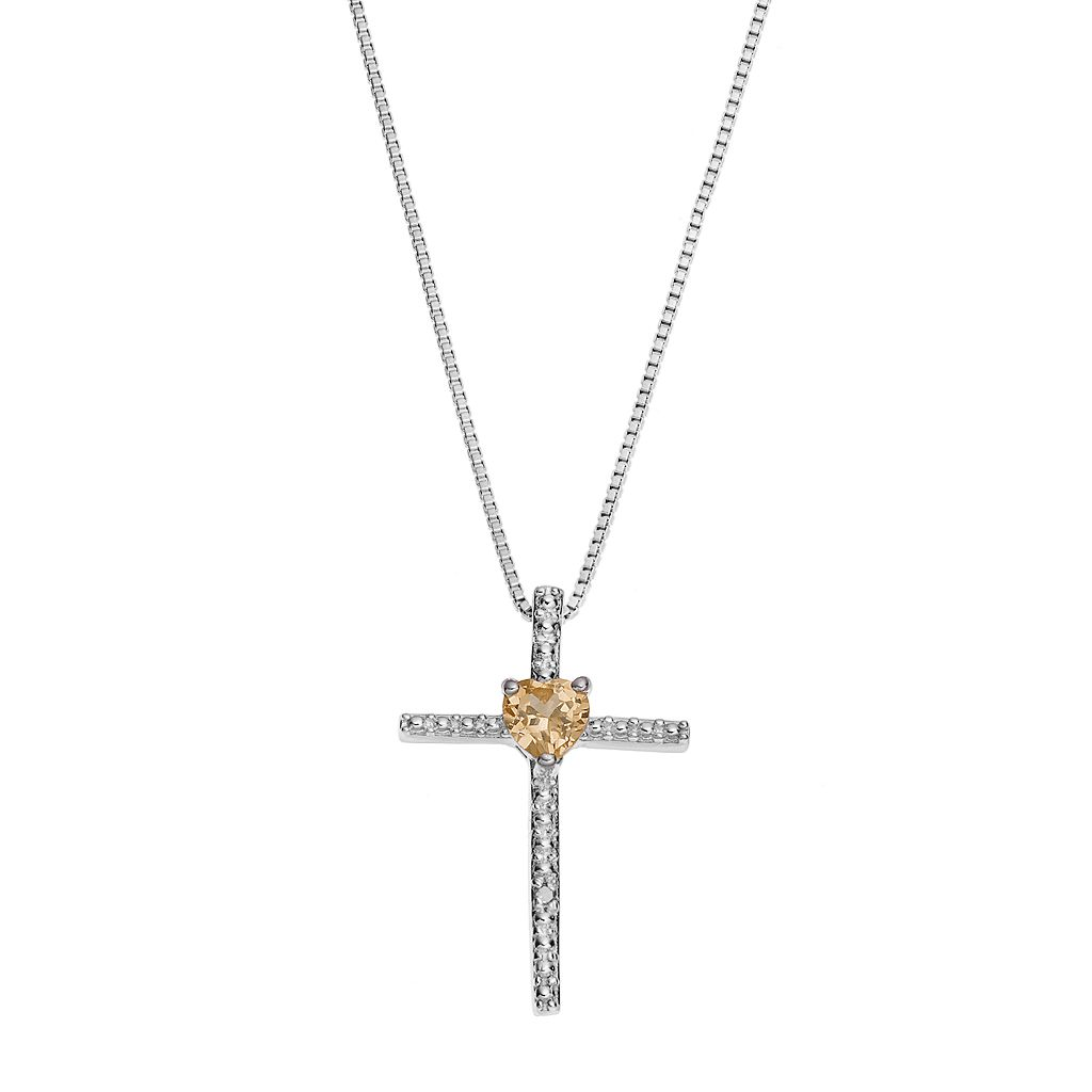 Sterling Silver Citrine Cross Pendant Necklace