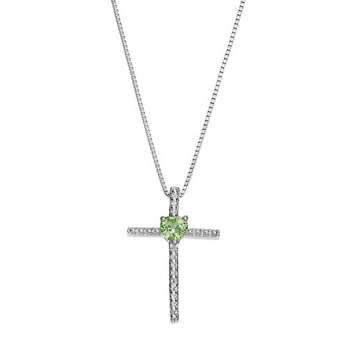 Sterling Silver Peridot Cross Pendant Necklace