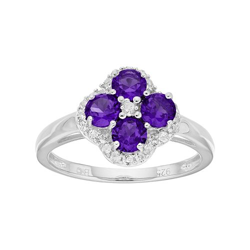 Sterling Silver Amethyst & White Topaz Flower Ring