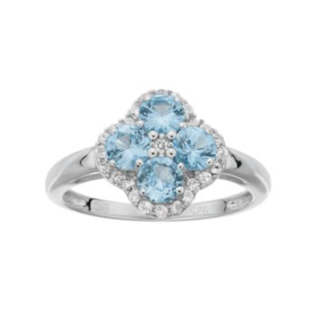 Sterling Silver Lab-Created Aquamarine & White Topaz Flower Ring