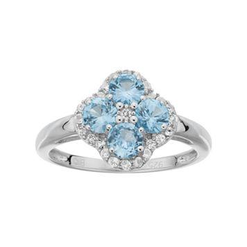 Sterling Silver Lab-Created Aquamarine & White Topaz Flower Ring