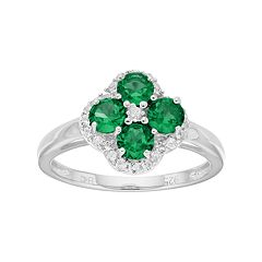 Sterling Silver Lab-Created Emerald & White Topaz Flower Ring
