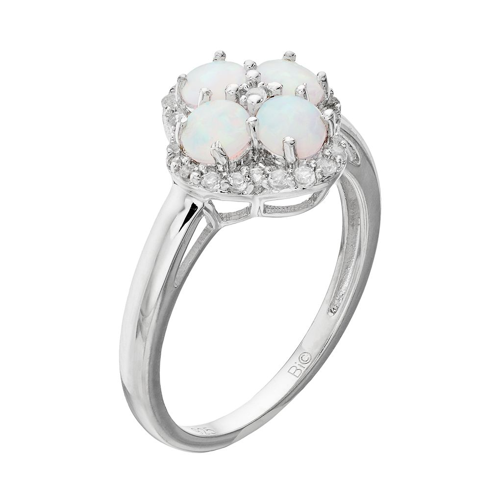 Sterling Silver Lab-Created White Opal & White Topaz Flower Ring