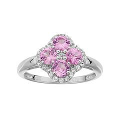 Sterling Silver Lab-Created Pink Sapphire & White Topaz Flower Ring