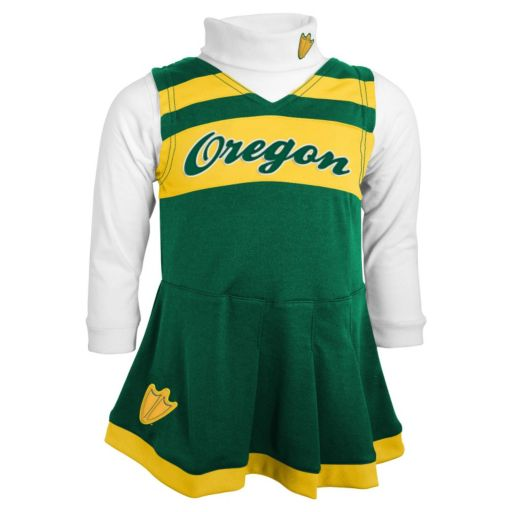 Girls 4-6x Oregon Ducks 2-Piece Cheerleader Jumper & Turtleneck Set