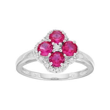 Sterling Silver Lab-Created Ruby & White Topaz Flower Ring