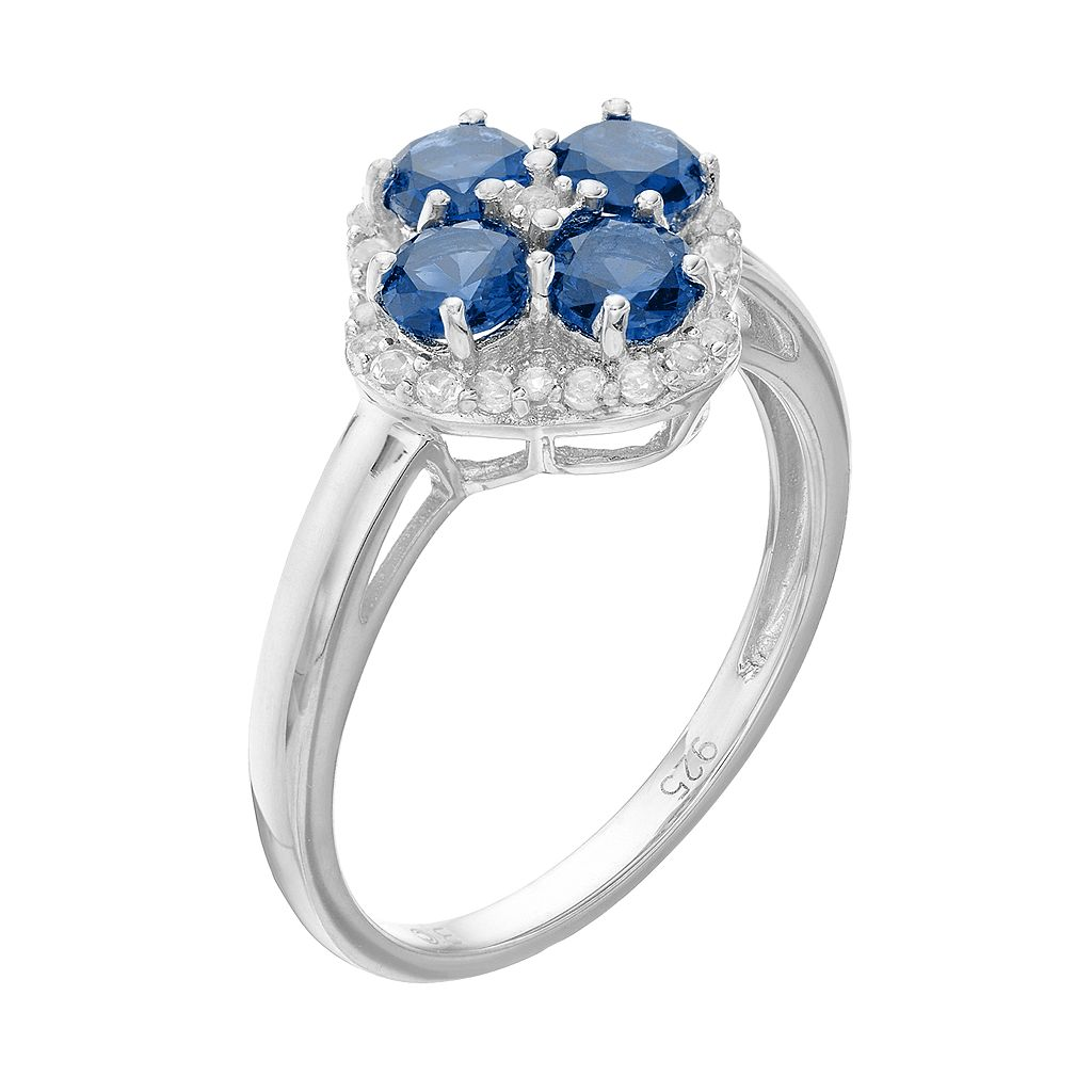 Sterling Silver Lab-Created Sapphire & White Topaz Flower Ring