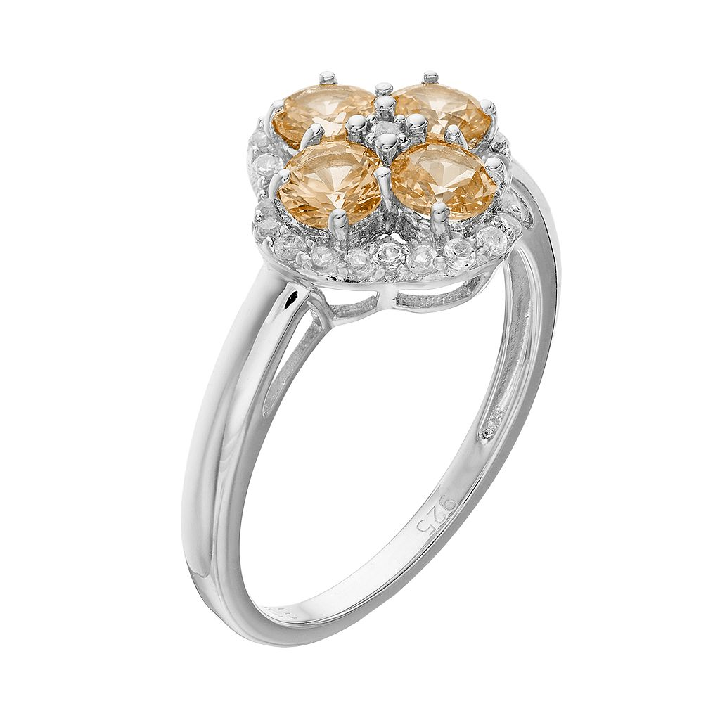 Sterling Silver Citrine & White Topaz Flower Ring