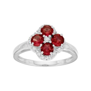 Sterling Silver Garnet & White Topaz Flower Ring