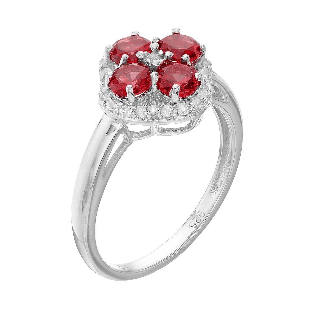 Sterling Silver Garnet & White Topaz Flower Ring