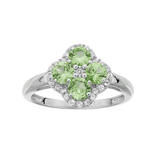 Sterling Silver Peridot & White Topaz Flower Ring