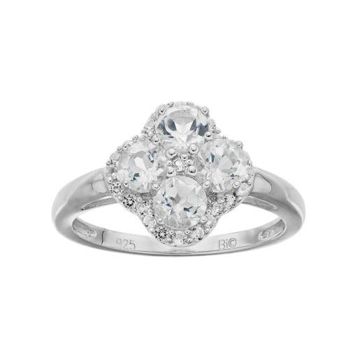 Sterling Silver White Topaz Flower Ring