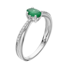 Sterling Silver Emerald & Diamond Accent Ring