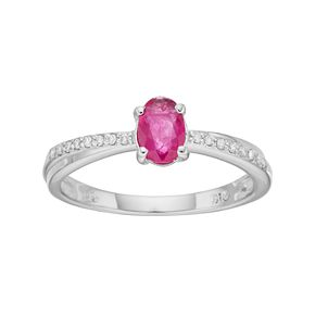 Sterling Silver Ruby & Diamond Accent Ring