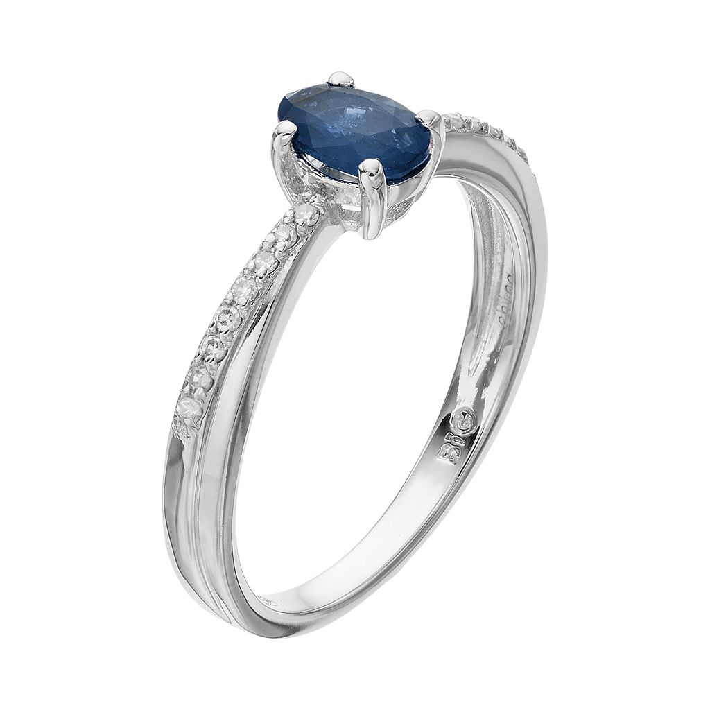 Sterling Silver Sapphire & Diamond Accent Ring