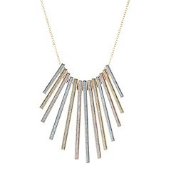 Tri-Tone Sterling Silver Bib Necklace